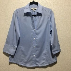 Foxcroft NYC Career Blue Button Down Career Blouse
